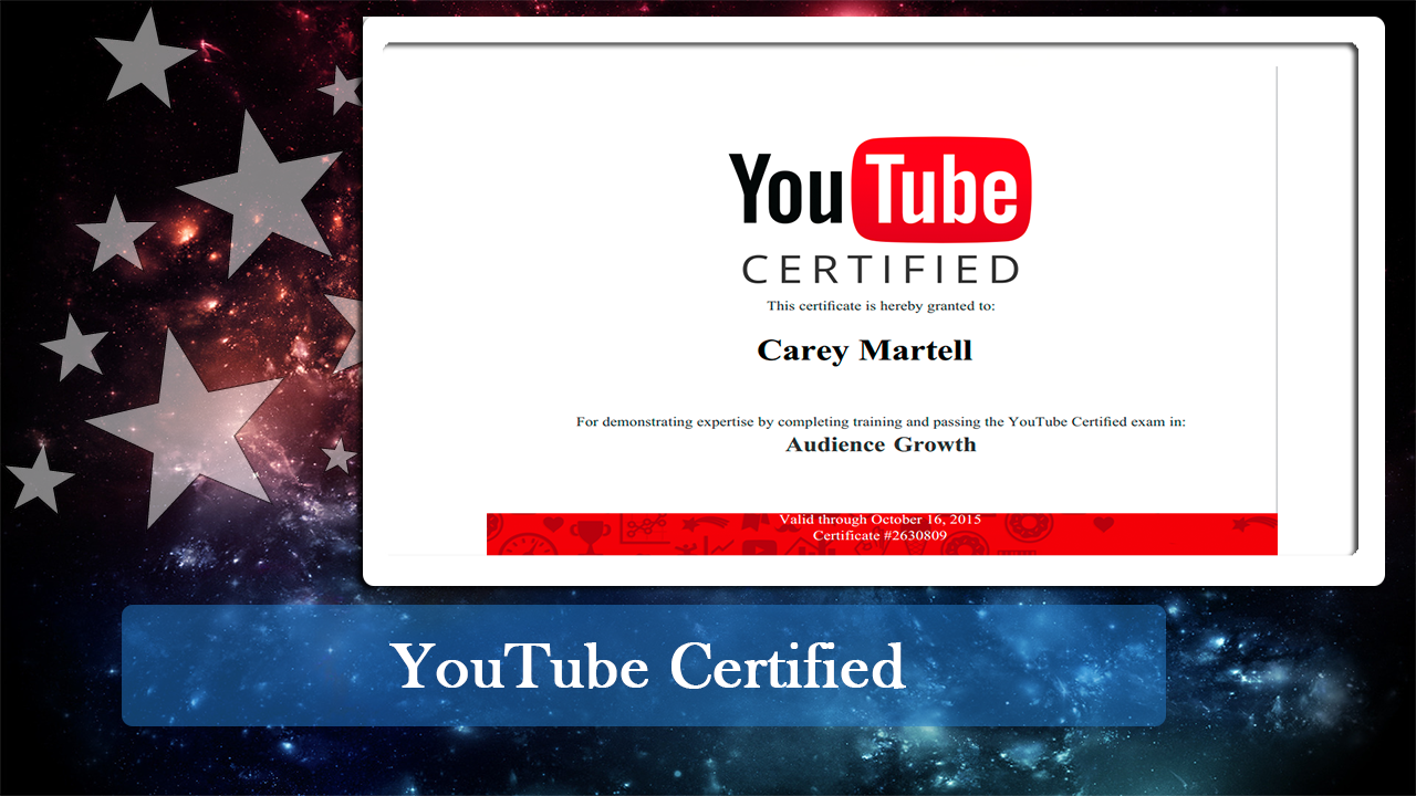 My Youtube Audience Growth Certificate Carey Martell