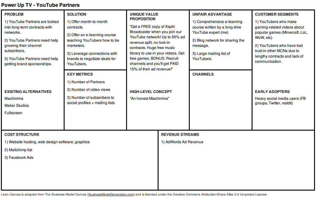 This lean startup canvas shows the model I used for Power Up TV