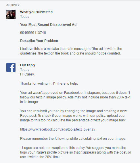 facebook ad rejection 1